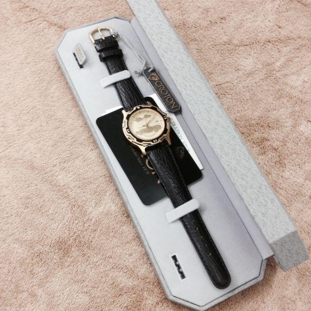Jewelry 1953-55 Corvette WatchGold with Black Leather Band Quartz