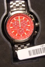 Jewelry C6 Chronograph Watch Red Face with Silver Metal Band