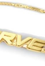 "Jewelry C5 Corvette Script Bracelet 14K Gold 8"""