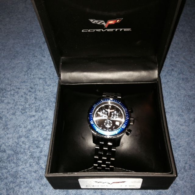 Jewelry C6 Chronograph Watch Black with Blue Bezel Black Band
