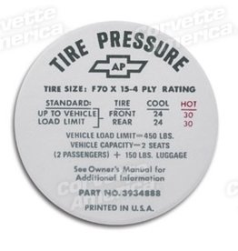 Books\Manuals 1968-72 Tire Pressure Decal GloveBox