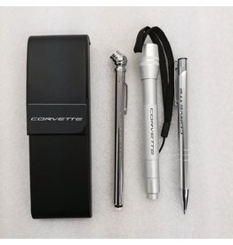 Accessories Corvette Roadster Set Leather Case with Pen, Tire Gauge and Flashlight Laser Engraved