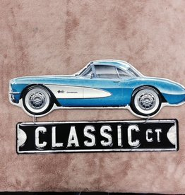 """Collectibles 1957 Corvette Hanging Metal Sign Blue 18"""""""