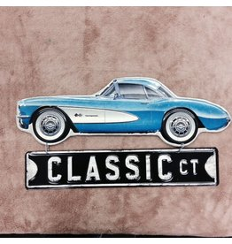 Collectibles 1957 Corvette Hanging Metal Sign Blue 18""