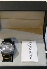 Apparel Corvette Quartz Watch with Black Face and Black Metal Band