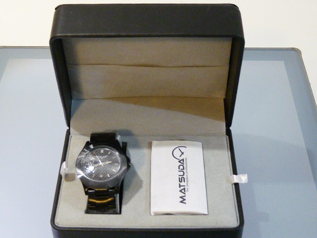 Apparel Corvette Quartz Watch with Black Face and Black Metal Band