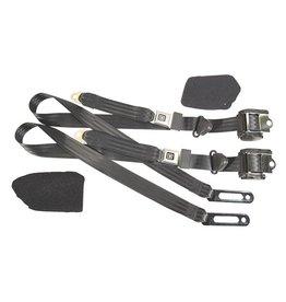 Interior 1984-96 Seat Belts Single Retractor Set Black