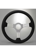 Steering 1963-82 Steering Wheel Black Leather/Brushed Spokes