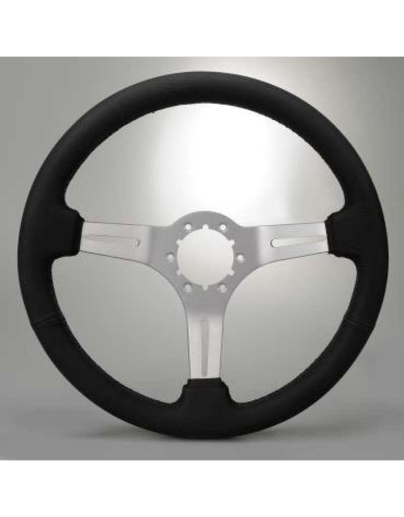 Steering 1963-82 Steering Wheel Black Leather/Brushed Spokes