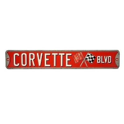 "Collectibles Corvette BLVD Metal Sign 3 1/2"" X 20"""