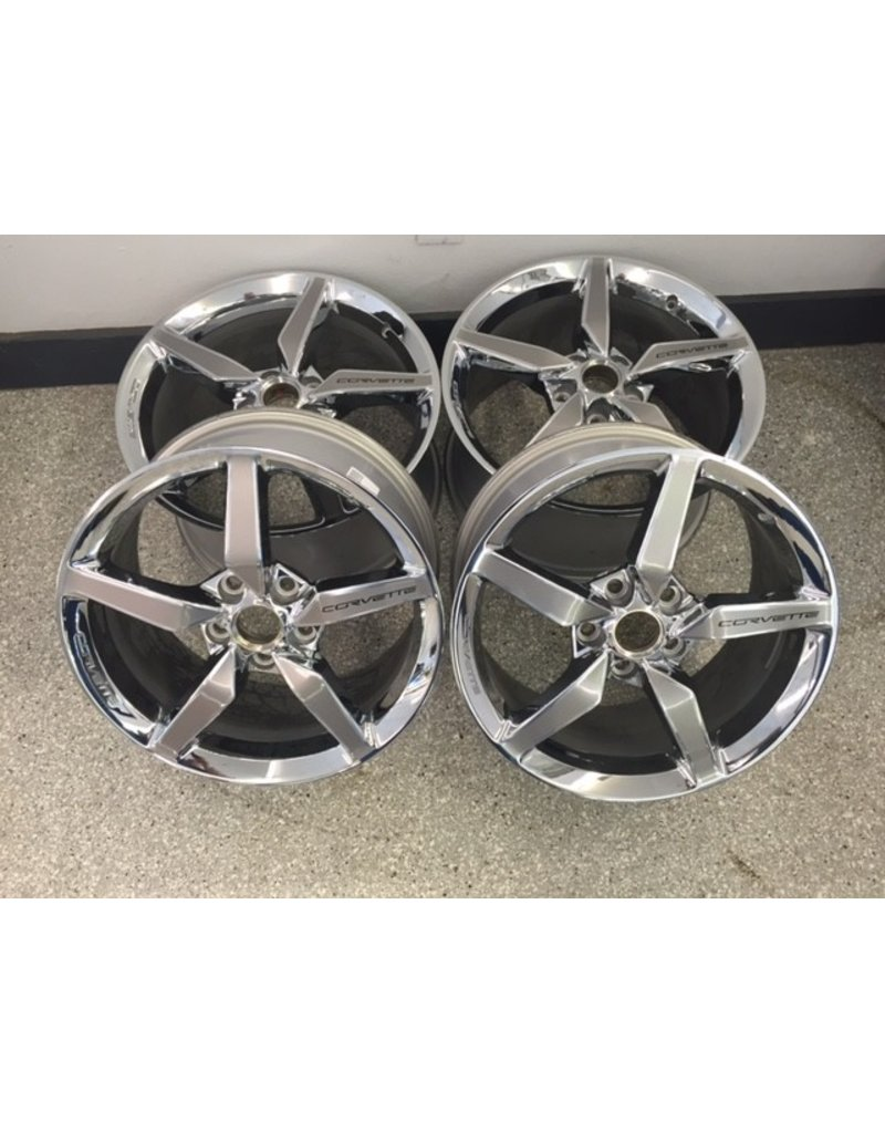 """Consignment C7 Chrome Wheels Set of 4 2-18""""X8.5"""" and 19""""X10"""" W/O Caps and Lug Nuts"""