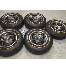 Consignment 1965 Knockoff Wheels Reproduction 'Bolt-On' Style Set of 5 with Gold Line Radial Tires