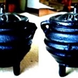 Hex Baby Witch Cauldron and Votive Holder with Pentagram