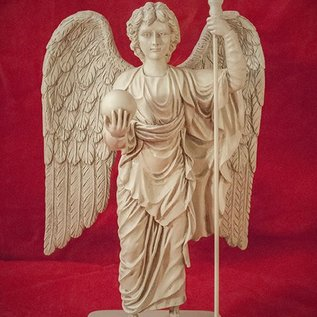 Hex Archangel Michael Holding Orb Statue, Stone, Small