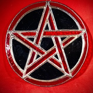 Hex Stained Glass Pentacle in Red and Black