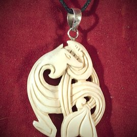Hex Bone Celtic Dragon Necklace