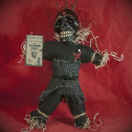 Hex Mama JuJu New Orleans Voodoo Doll. Black Doll with Nails.