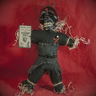Hex Mama JuJu New Orleans Voodoo Doll. Black Doll with Black Burlap and Nails.