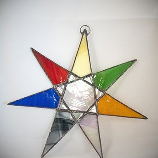 Hex Stained Glass Sacred Septagram in Planetary Colored Glass