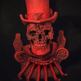 Hex Baron Samedi Wall Plaque in Red Finish