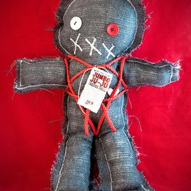 Hex Mama Kyri's Jumbo Ju-Ju Burlap Voodoo Doll in Black