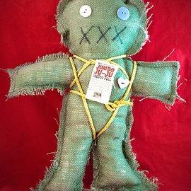 Hex Mama Kyri's Jumbo Ju-Ju Burlap Voodoo Doll in Green