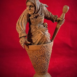 Hex Baba Yaga Statue in Wood Finish