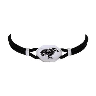 Hex Silver Raven Choker with Leather and Silver Cord