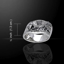 Hex Silver Raven Ring - Size 7