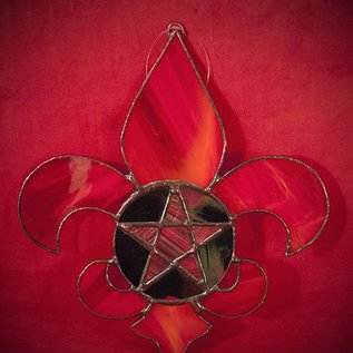 Hex Fleur De Lis Pentacle in Red Stained Glass