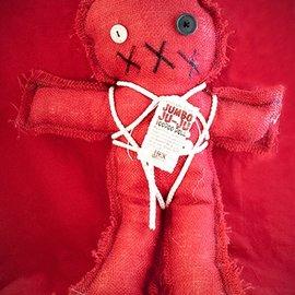 Hex Mama Kyri's Jumbo Ju-Ju Burlap Voodoo Doll in Red