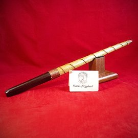 Hex Ash Wand with Wenge Handle Ironwood Core and Copper Wrapped with Quartz Tip