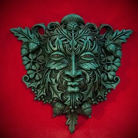 Hex Green Man Wall Plaque in Green Finish