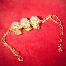 Hex 3 Skull Link Bracelet - Yellow Gold