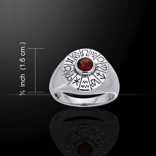 Hex Astrologer's Gemstone Ring with Garnet