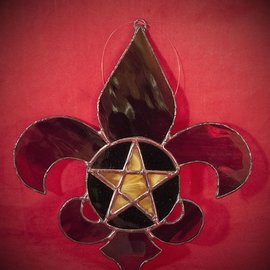 Hex Fleur De Lis Pentacle in Mardi Gras Colors Stained Glass