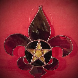 Hex Fleur De Lis Pentacle in Mardi Gras Colors Stained Glass