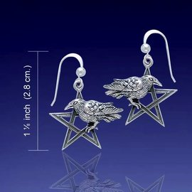 Hex Raven on Silver Pentacle Earrings