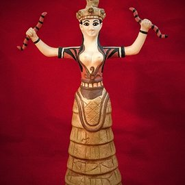 Hex Minoan Snake Goddess Statue from Knossos Palace