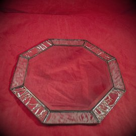 Hex 6 Inch Eight-Sided Mirror Featuring a 1 Inch Silver Border