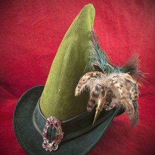 Hex Broom Rider Hat in Green Suede with Buckle