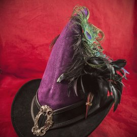 Hex Broom Rider Hat in Purple and Black Suede with Buckle