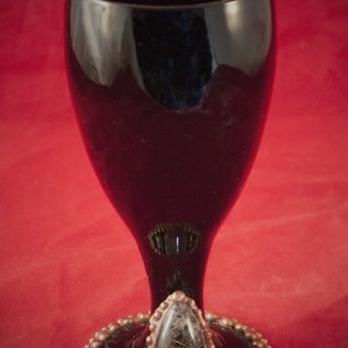 Hex Black Glass Chalice with Rutilated Quartz