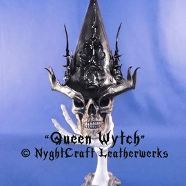 """Hex Handtooled Leather Hat """"The Queen Witch!â€ù by NyghtCraft Leathers"""
