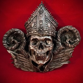 Hex Bishop Thanatos Wall Plaque in Silver Finish