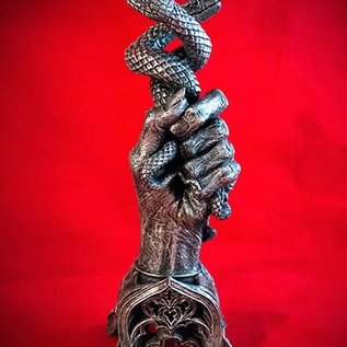 Hex Hand of Glory Candlestick Holder In Silver Finish
