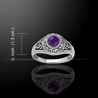Hex Astrology Wheel Ring with Amethyst