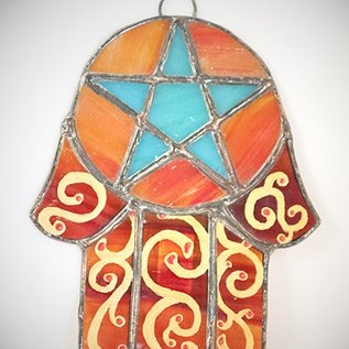 Hex Stained Glass Hamsa Pentacle in Orange and Teal Glass
