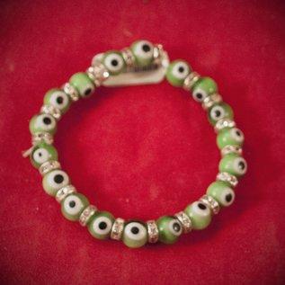 Hex Evil Eye Bracelet Green 4mm