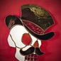 Hex Stained Glass Skull with Top Hat in Red and Black
